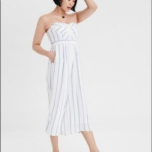 AEO white blue striped strapless crop jumpsuit M
